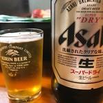 石松寿司 - 2017年10月 瓶ビール。グラスはキリン(^^;