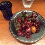 74441129 - 鳥もつ煮 ¥600-+木火土金水(日本酒) ¥600-