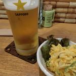 茶酒厨房 Okaki - ビールと本日のお通し