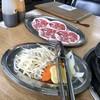 北海道じんぎすかん ラムラム - 料理写真:お野菜、生ジンギスカン各1人前です。