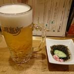 風来坊 - 2017年9月 生ビール+口取り 530+250円