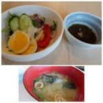 すし角打ち しらすくじら 磯貝 - ◆セットの「サラダ」「モズク酢」「お味噌汁」