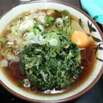 天かめ - 春菊天そば(360円)+生卵(50円)