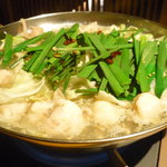 和牛もつ 鶏ささみのしゃぶしゃぶ 暖善 ゆず庭 - これが、名物もつ鍋!!塩味でさっぱりしてる!!うまい