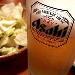 ニパチ - ドリンク写真:お通しのキャベツと生ビール