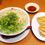 二両半 - ラーメン並(しお)の野菜(ねぎともやし)多め