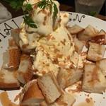 リゾットカフェ東京基地 離 - メイプルシロップかけパンケーキアイスクリーム添え