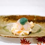 うぶか - 牡丹海老と柿の白和えと湯葉