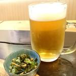 手打ち出雲蕎麦 - ちょい酔セット[¥1100] 生ビール(選択)・小鉢