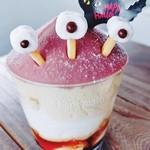 HappyBerry - 料理写真:【おばけモンブラン】紫いもとカスタード、スポンジと生クリーム、たっぷりプリンが層になった、パフェ仕立てのカップケーキ。ハロウィン限定