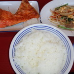 富山上袋食堂 - 鮭塩焼・野菜炒め・わかめ酢・ご飯