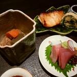 一燈 - 「越味御膳」の お造り&焼き魚&小煮物