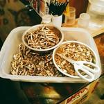 拉麺一匠 DEAD OR ALIVE - 相変わらず煮干のわたと頭を手作業で取っています。