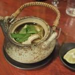 手打蕎麦 とし庵 - 鱧と松茸の土瓶蒸し