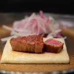 嘉山 - 米沢牛ヒレ 焼き加減はレア 半分ずつで50g