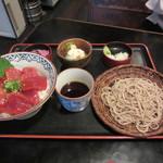 長生庵 - 天然本鮪の中トロと赤身の漬け丼セット 2500円