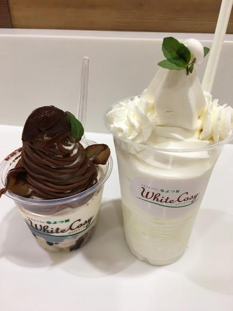 ミルク&パフェ よつ葉ホワイトコージ 東京スカイツリータウン・ソラマチ店 - 栗づくしのチョコモンブランパフェ、よつ葉の白いパフェ