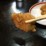 餃麺 しら石 - 白肉の天ぷらリフト〜(*^▽^*)