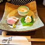 74626413 - 二色蕎麦と桜海老かき揚げ御膳(前菜三種)