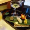 Kouunkan - 料理写真:汲み上げ湯葉浸し 鯛昆布〆握り 鬼灯玉子 あんずチーズ 鰻八幡巻き 焼きもろこし①
