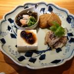鎌倉 松原庵 欅 - 前菜:鴨ロースの柚子胡椒和え等