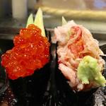 太田鮨 - ランチ 2,600円(左から、いくら、カニ)