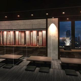 完全個室多数最大宴会70名様までOKのデザイナーズ空間