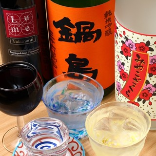 焼酎、日本酒も日替りで仕入れます。