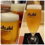 鮨 そえ島 - まずは「ビール」