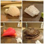 鮨 そえ島 - ◆左上:鰆(糸島) ◆左下:パブリカ(五島) ◆右上:鮃(鐘崎) ◆右下:どんこ椎茸(大分)