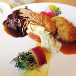 洋食彩酒 アンプリュス - 洋食3種盛りの他ライスorパン サラダ ドリンク付