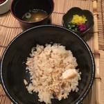 川村料理平 - 鯛飯、みそ汁、香の物
