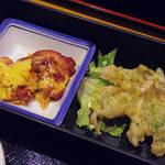 74686258 - 【ランチ】 若鶏マヨネーズ焼き きす磯辺天ぷら \800