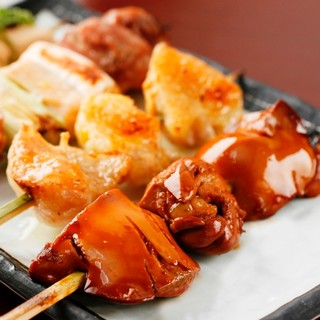比内地鶏の串焼きはビールや地酒にもよく合います!