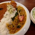 コバラカフェ - キーマと豆カリーのあいかけカリーライスセット