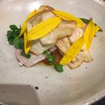 傳 - ・ 鰤、菊芋の花、クレソン、大根、マコモダケ