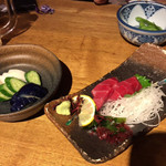 ZA・KO・BA - 漬け物盛り合わせ・まぐろの刺身・枝豆