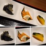 EIKOKU SHORYU - ◆おばんさい3種。「茄子の煮物」「かぼちゃの煮物」「魚の甘酢餡」など。