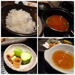EIKOKU SHORYU - ◆ご飯、お味噌汁、香の物、天つゆ。