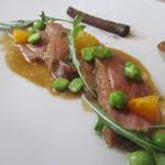 74754064 - カナダ産鴨胸肉のロティ ジュのソース 西洋ゴボウと季節野菜を添えて