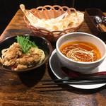 バタチキ - バターチキンのつけ麺 (半ナン 鳥唐2個つき)