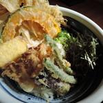 74771826 - はみ出る天ぷら、ビジュアルゴージャス!  バラエティ豊かな天ぷらがお得な野菜天ぶっかけ、+240円以上の価値は十分にあるのだ!  野菜天マジお得!ヽ(*゚∀゚)ノ