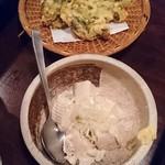 74777235 - ・野沢菜の天ぷら 590円                       ・北アルプスのおぼろ豆腐 490円