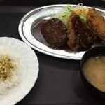 レストラン ポパイ - 豚ヒレカツ+カニクリームコロッケ+ハンバーグ 850円