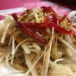 中華料理 愛福楼 - 小皿の千枚の香りねぎソースかけ