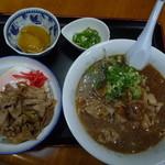 十番亭 - 料理写真:Aセットのやき肉丼と肉みそラーメン