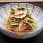 麻布十番 ふくだ - のどぐろ、水菜、松茸煮浸し