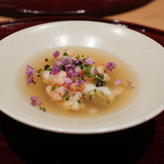いち太 - 海老、茄子、菊、ゆりの生姜餡