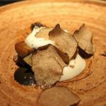 エクアトゥール - 秋刀魚と茄子 鮑の肝のソースで ビネグレット トリュフがけ