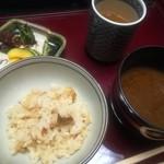 京都嵐山温泉 渡月亭 - 松茸ご飯  赤だしの味噌汁